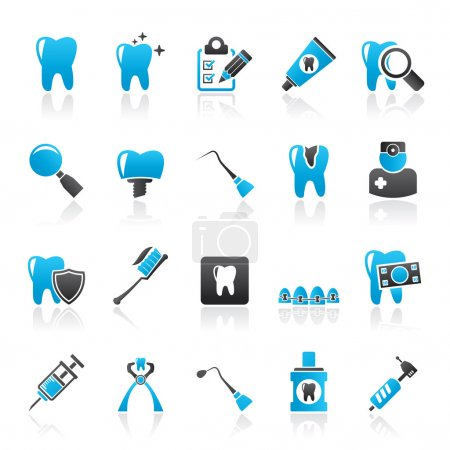 dental medicine and tools icons