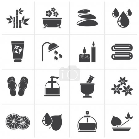 Illustration for Black Spa and relax objects icons - vector icon set - Royalty Free Image