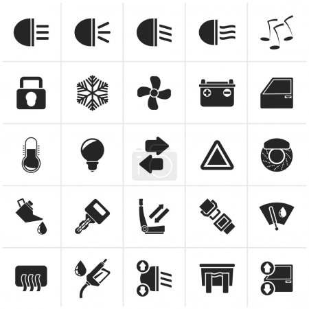 Black Car interface sign and icons