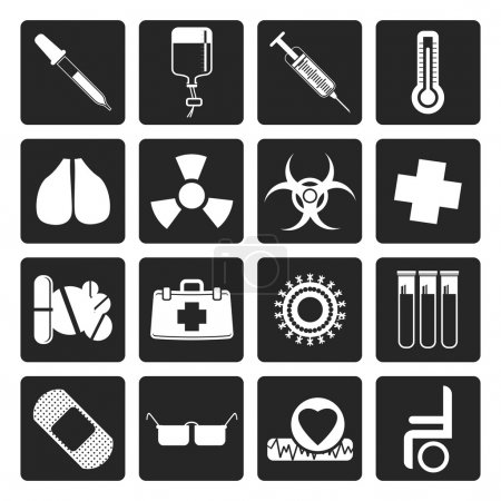Black collection of  medical themed icons and warning-signs