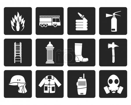 Black fire-brigade and fireman equipment icons