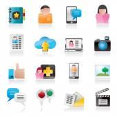 Icone sociali di media, rete e internet