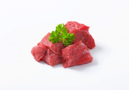 Photo for Raw beef cut into cubes - Royalty Free Image