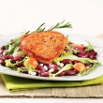 Marinated pork and red bean salad...