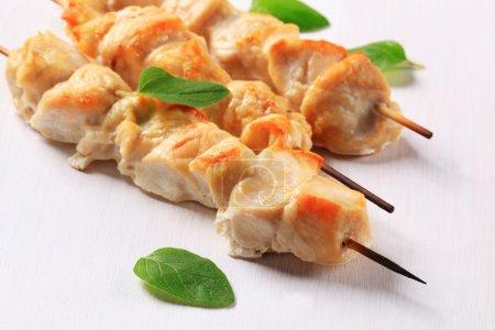 Photo pour Brochettes de poulet sur une assiette - image libre de droit