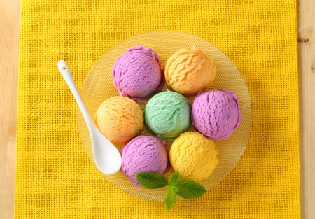 Photo for Scoops of ice cream - assorted flavors - Royalty Free Image