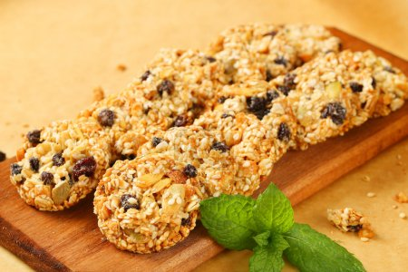Photo for Sesame raisin cookies with pumpkin seeds - Royalty Free Image