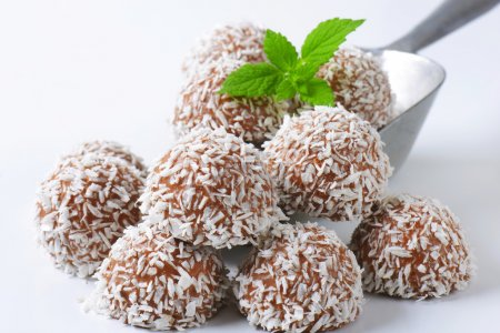 Chocolate truffles rolled in coconut flakes...