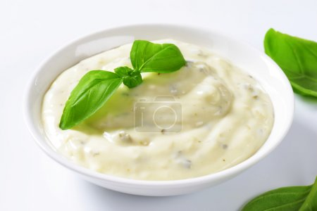 Photo pour Vinaigrette crémeuse à base de mayonnaise, babeurre, ail, herbes, épices et fromage râpé - image libre de droit