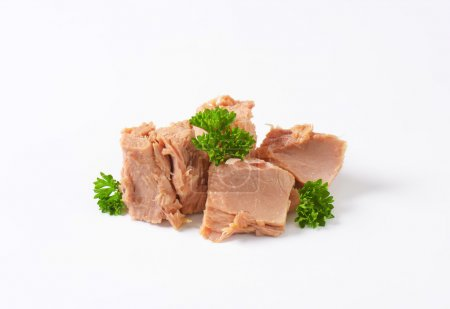 Photo for Chunks of canned tuna on white background - Royalty Free Image
