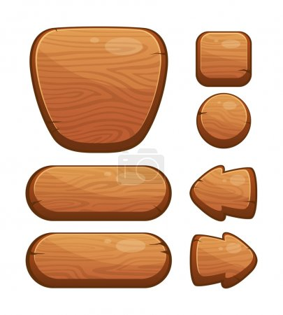 Vector Set of Wooden Buttons for Web or Game Design