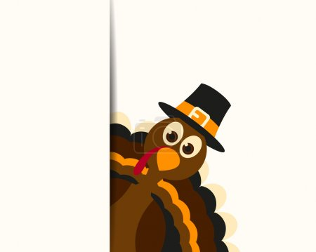 Illustration for Vector Illustration of a Happy Thanksgiving Celebration Design with Cartoon Turkey - Royalty Free Image