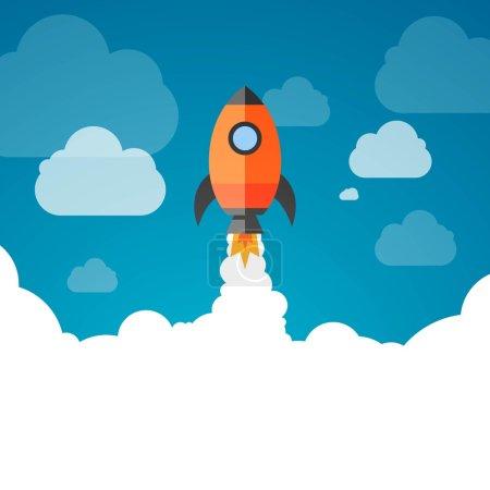 Illustration for Vector Illustration of a Business Start-Up Rocket Space Exploration - Royalty Free Image