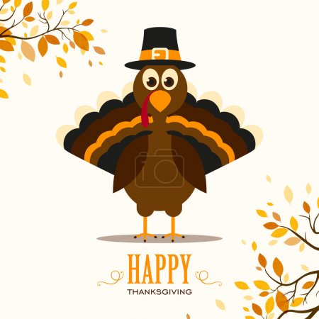 Illustration for Vector Illustration of a Happy Thanksgiving Celebration Design with Cartoon Turkey and Autumn Leaves - Royalty Free Image