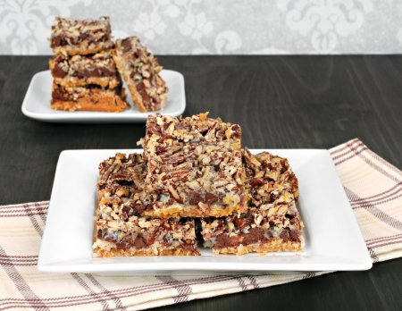 Photo for Chocolate chip and nut cookie bars, close up with copy space. - Royalty Free Image