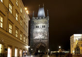 The Powder Tower or Powder Gate --is a Gothic tower in Prague, Czech Republic (Night view)
