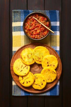 Arepa Corn Meal Patties with Hogao Sauce