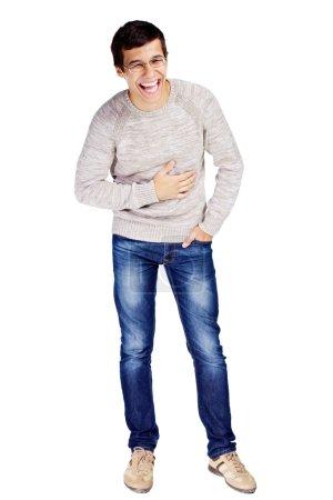 Photo pour Portrait complet de jeune homme en lunettes et pull beige doublant avec des rires isolés sur fond blanc - image libre de droit