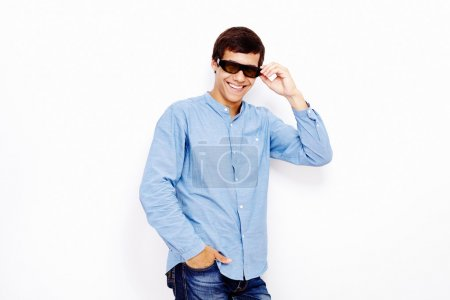 Guy with 3D TV glasses