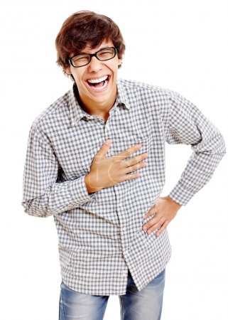 Laughing guy with hand on chest