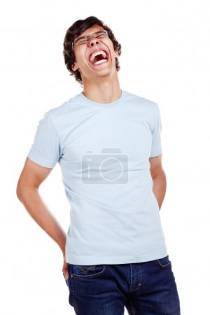 Laughing guy with hands in pockets