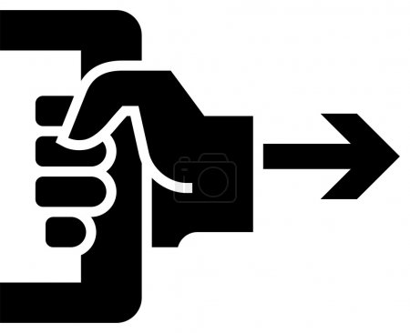 Illustration for Black vector sign of hand pulling doorhandle - Royalty Free Image