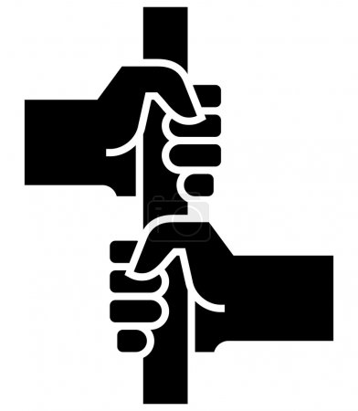Two hands holding stanchion icon