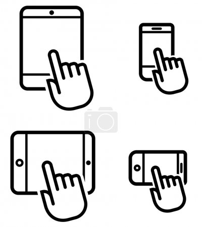 Click on mobile device icons set