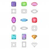 Flat style low poly colored & black outline template gems cuts jewelry icons isolated on white background vector illustration
