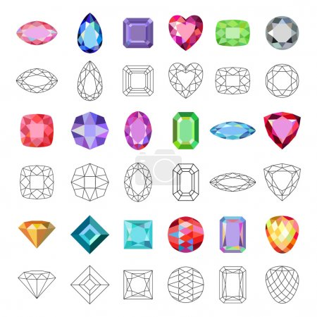 Low poly popular colored gems cuts