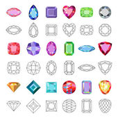 Low poly popular colored gems cuts isolated on white background vector illustration