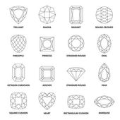 Low poly popular black outlined gems cuts isolated on white background vector illustration