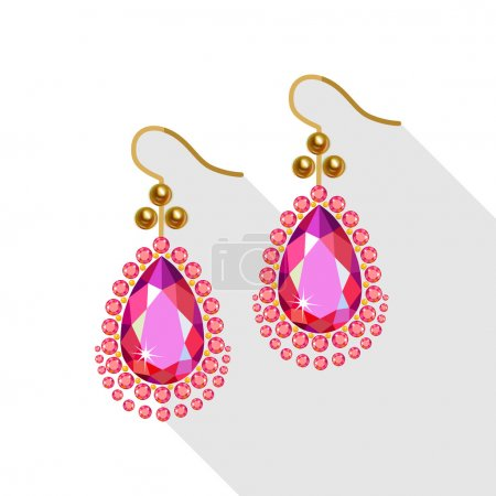 Earrings set (gold pearls, diamonds and ruby) isolated on white