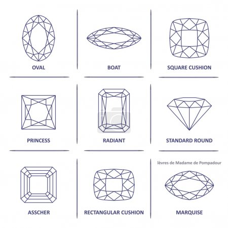 Low poly popular blueprint outline gems cuts infographics