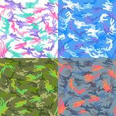 Camouflage seamless spots pattern background set vector illustration