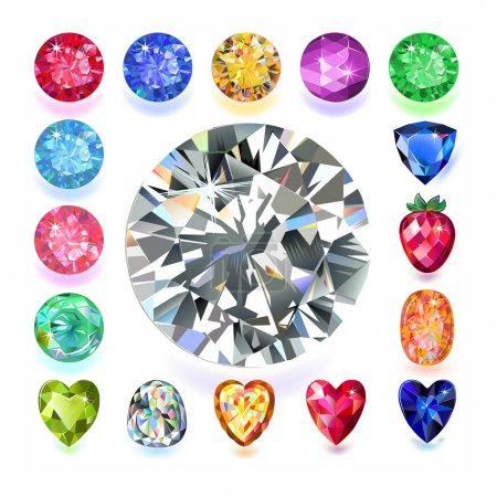 Illustration for Set of colored located on a square gems isolated on white background, vector illustration. - Royalty Free Image