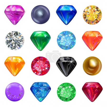 Colored gems game interface set