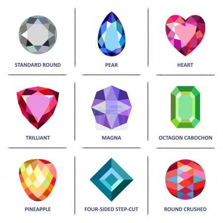 Illustration for Low poly popular colored & outline jewelry gems cuts infographics isolated on white background, vector illustration - Royalty Free Image