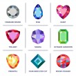 Low poly popular colored & outline jewelry gems cu...