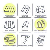 Sale buildings materials (roof facade) site icons infographics