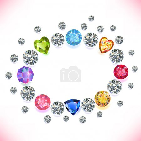 Illustration for Colored gems oval frame isolated on white background, vector illustration - Royalty Free Image