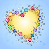 Colored gems heart shape frame isolated on light blue background