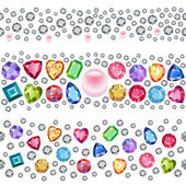 Seamless scattered gems, rhinestones isolated on white backgroun