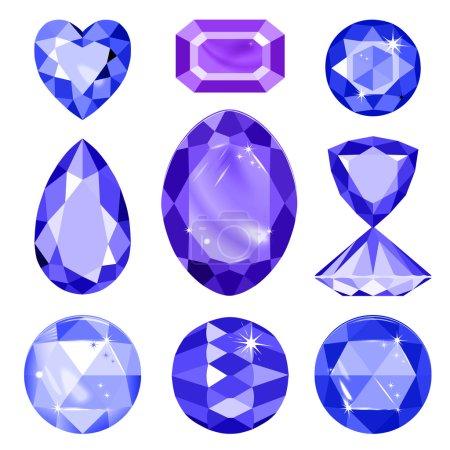 Illustration for Seamless scattered gems, rhinestones isolated on black background - Royalty Free Image