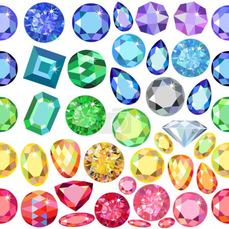 Seamless scattered borders of gems