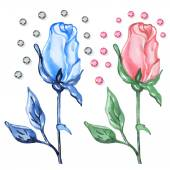 Pink & blue roses buds with diamonds