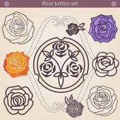 Rose tattoo květinové silueta sady, prvek pro návrh