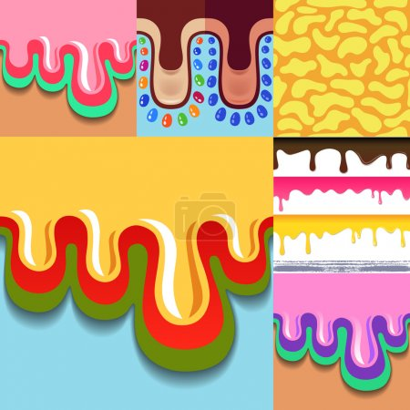 Colored seamless pattern drips set