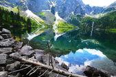 clear lake among mountains