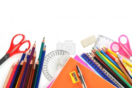 Photo for Notebooks and other  school supplies - Royalty Free Image